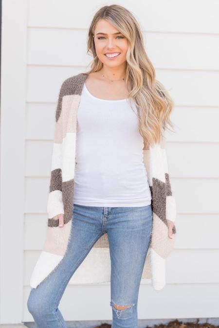 Brown Color Block Drape Oversized Knitted Cardigan