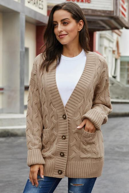 Khaki Open Front Button Down Knit Cardigan Coat