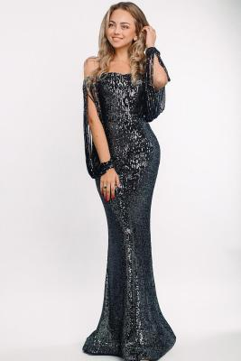 Black Off Shoulder Tasseled Sleeve Sequin Party Maxi Dress