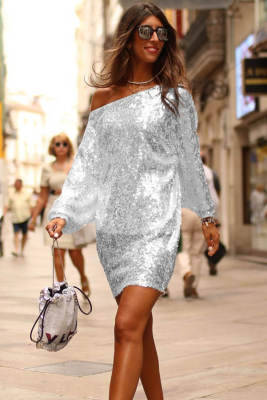 Slanted Shoulder Sequin Dress