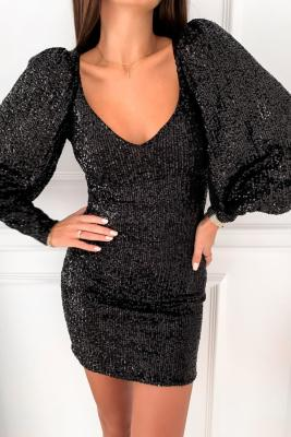 Black Metallic Puffy Sleeves Sequin Dress