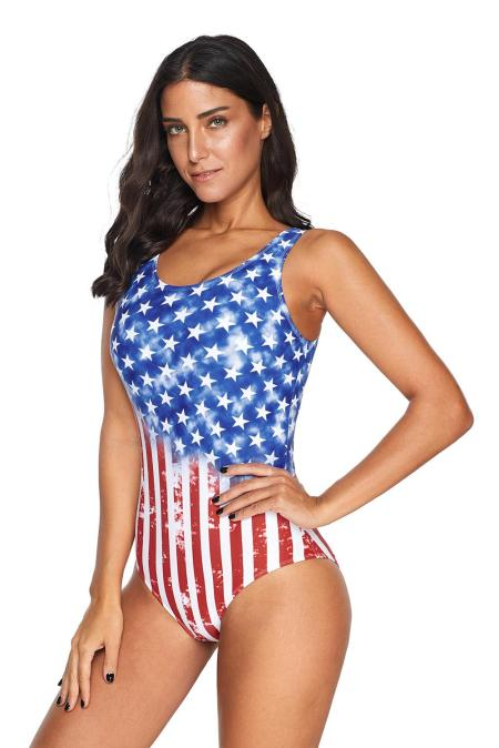 Flag Print Stars and Stripes Criss Cross Back One Piece Swimsuit