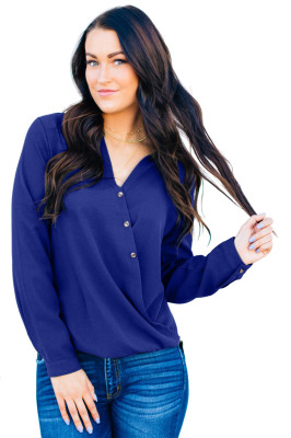 Blue Surplice Button Trio Top