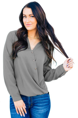 Gray Surplice Button Trio Top