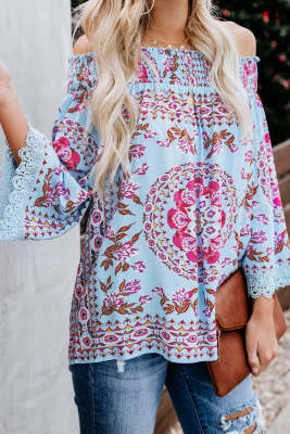 Blue Secret Escape Off The Shoulder Printed Top