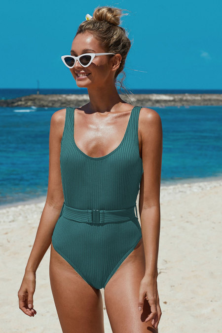 Green Ribbed One-piece Swimsuit with Belt
