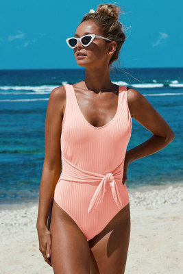 Pink Scoop Neck Tie Waist Ribbed Women Maillot