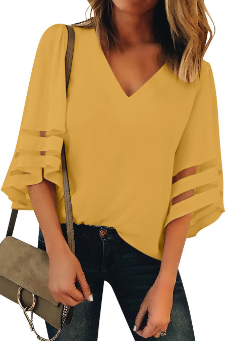 Yellow Flare Sleeve V Neck Loose Blouse