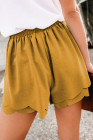 Khaki Scalloped Tie Front Shorts