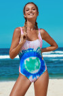 Multicolor Tie Dye Open Back One-piece Swimwear
