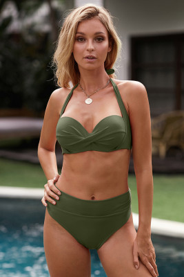 Army Green Shirring Bra Halter Neck High Waist Bikini