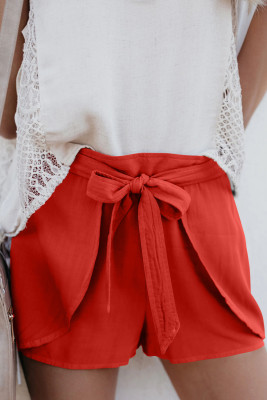 Red Plain Drawstring Waist Fashion Shorts