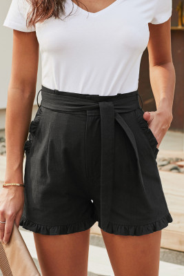 Black Ruffled Trim High Waist Getaway Shorts