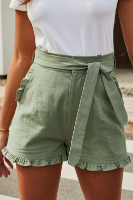 Green Ruffled Trim High Waist Getaway Shorts