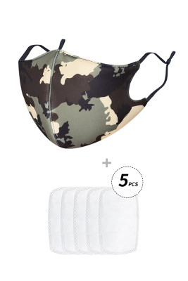 Green Camo Print Anti Flu Mask With 5PCS Filters