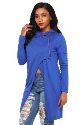 Royal Blue Split Front Zipped Hoodie