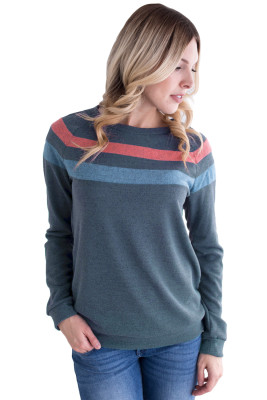 Bicolor Striped Atop Navy Casual Sweatshirt