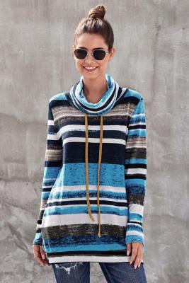 Blue Multicolor Cowl Neck Striped Long Sleeve Sweatshirt