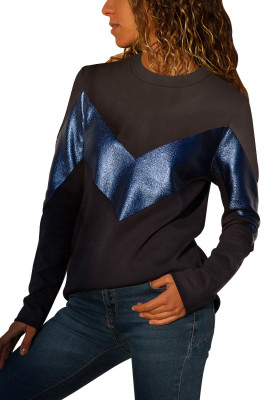 Black Navy Color Block Leatherette Splice Sweatshirt