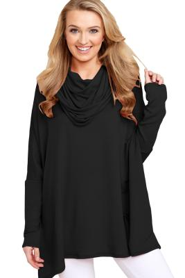Black Stylish Cowl Neck Long Sleeve Oversize Top