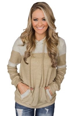 Stylish Apricot Patchwork Hoodie with Pockets