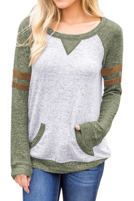 Contrast Stripes Green Sleeves Women Sweatshirt