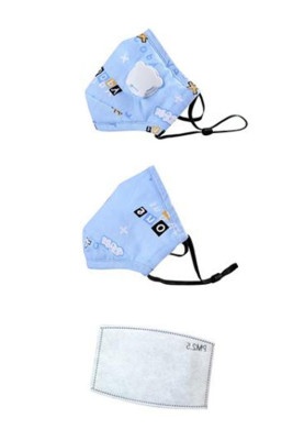 Sky Blue Adjustable Cute Printed Washable Kids Mask with Breathing Valve