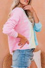 Pink Colorblock The Sun Cotton Blend Tie Dye Hoodie