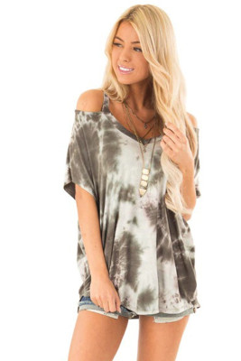 Taupe Tie Dye Cold Shoulder Blouse
