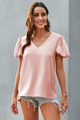 Pink Puff Sleeve Blouse