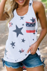 White Independence Day Star Print Tank Top