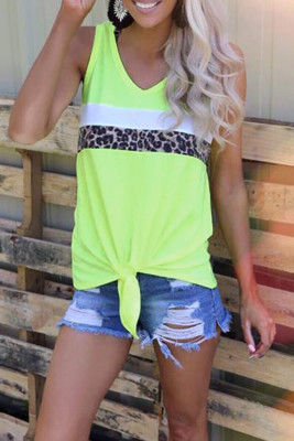 Neon Green Leopard Striped Patchwork Tank Top