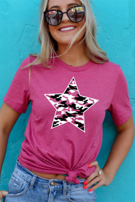 Star Print Rose Cotton T-shirt