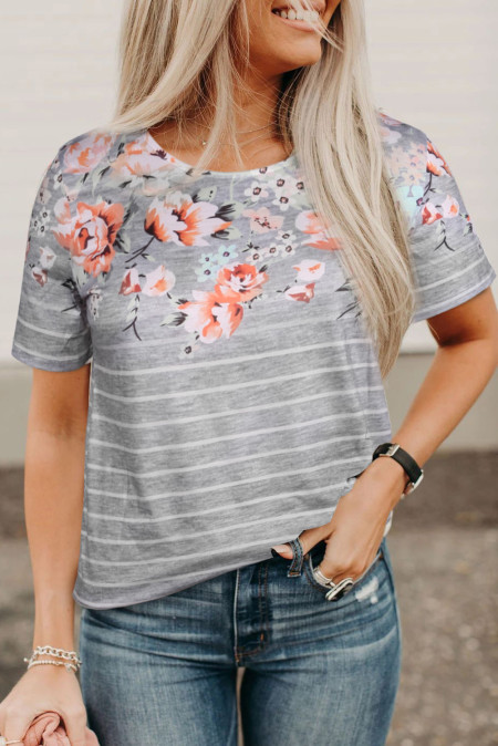 Gray Spring Vibe Floral & Stripe Tee