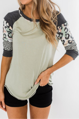 Green Printed Raglan Sleeve Top