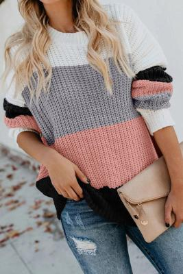 Pink Casual Colorblock Sweater