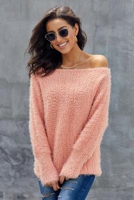 Pink Off The Shoulder Popcorn Knit Sweater