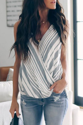 Gray Striped Drape Tank