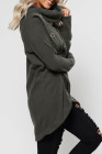 Gray Turtleneck Button Front Slit High Low Hem Sweater