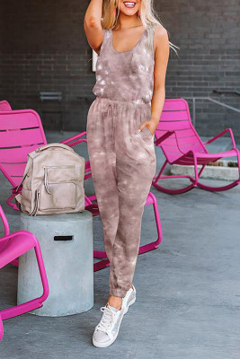 Red Tie Dye Drawstring Jogging Jumpsuit