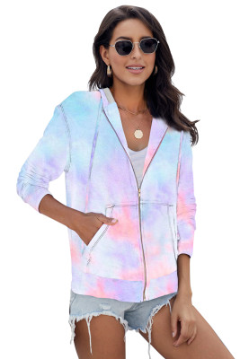 Sky Blue Tie-dye Pocket Zip Up Hoodie