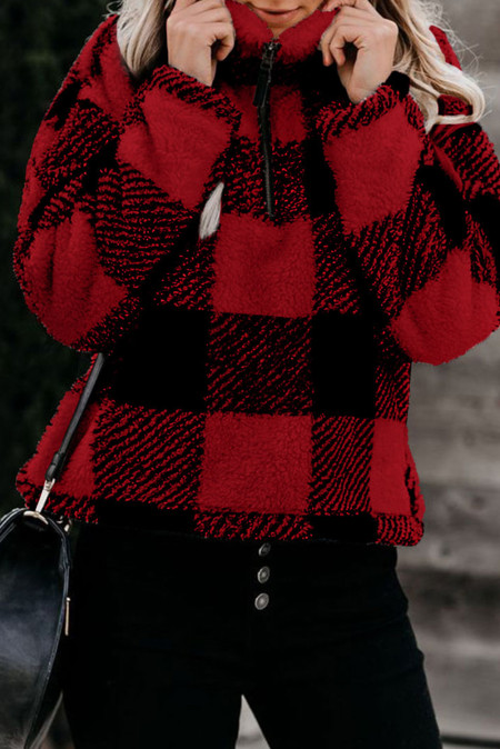 Red Checkered Half Zip Pullover