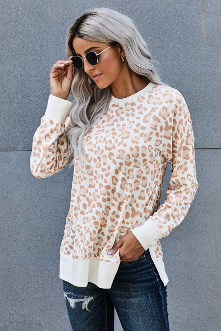 Round Neck Long Sleeve Leopard Print Loose Fit Sweatshirt