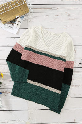 Green Casual Color-Block Striped Long Sleeve V Neck Sweater
