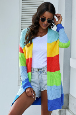 Blue Rainbow Color Block Open Front Drape Oversized Knitted Cardigan