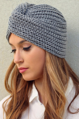 Gray Cross Twist Wrap Knit Beanie