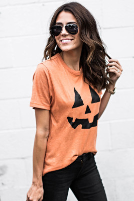 Round Neck Short Sleeve Pumpkin Pattern Orange T-shirt