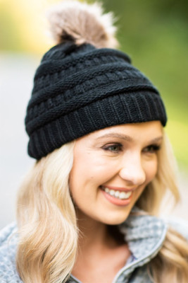 Black Outdoor Cable Knit Beanie with Pompom