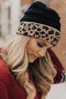 Black Knitted Leopard Beanie
