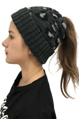 Gray Cute Printed Knitted Beanie